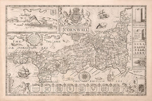 Old Map of Cornwall in 1611 by Speed - Penzance, St Ives, Plymouth, Lands End, Padstow - Personalised B/W Christmas Gift - Framed, Unframed