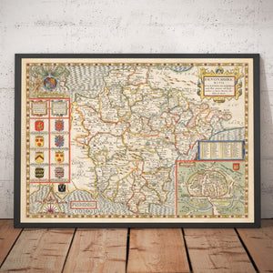 Old Map of Devon, 1611 by John Speed - Plymouth, Exeter, Torquay, Paignton - Personalised Vintage Antique Christmas Gift - Framed, Unframed