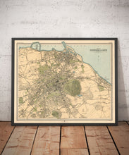 Load image into Gallery viewer, Old Map of Edinburgh in 1912 by J Bartholomew - Leith, Murrayfield, Portobello, Holyrood - Vintage Antique Christmas Gift - Framed, Unframed