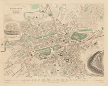 Load image into Gallery viewer, Edinburgh Face Mask / Neck Gaiter / Snood with vintage colour map of Edinburgh in 1853 by W.B. Clarke and published by George Cox
