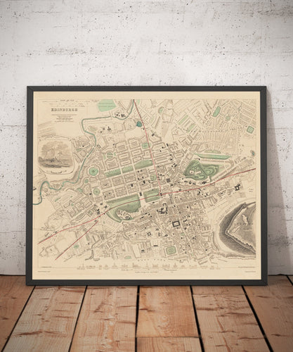 Old Map of Edinburgh in 1853, a rare colour map by W.B. Clarke and published by George Cox - Framed or Unframed