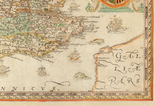Load image into Gallery viewer, Old Map of England & Wales, 1579 by Christopher Saxton - First Printed Map of British Isles - UK, Britain - Antique Vintage Wall Art - Framed, Unframed