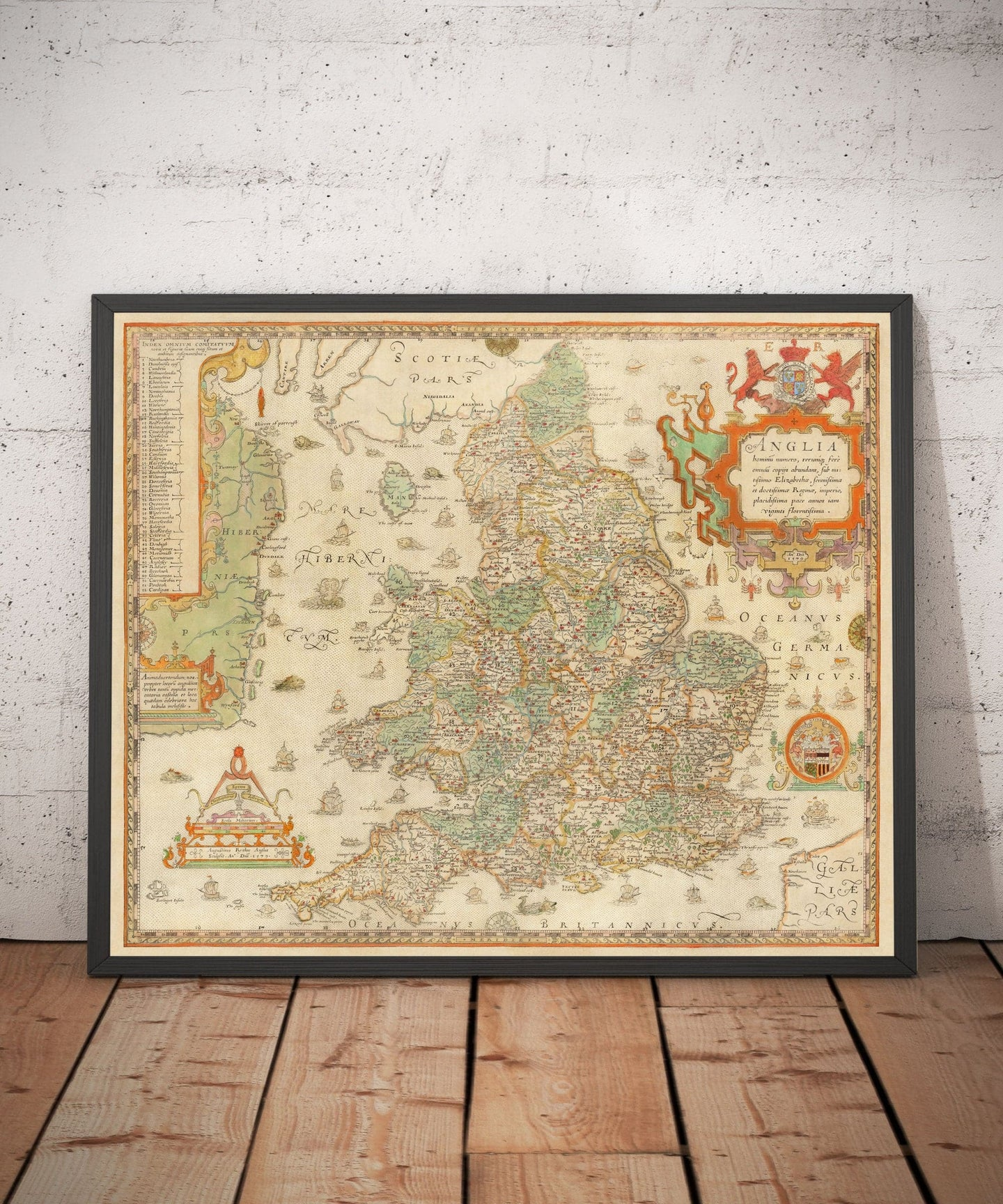 Old Map of England & Wales, 1579 by Christopher Saxton - First Printed Map of British Isles - UK, Britain - Antique Vintage Wall Art - Framed, Unframed