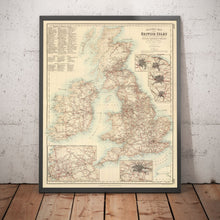 Load image into Gallery viewer, Old Map of Railways & Canals in British Isles 1872 by Fullarton - Colour Map of England, Ireland, Scotland, Wales - Framed or Unframed - Large Maps