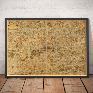 Old Map of London and Suburbs (25 miles) in 1790, by W. Faden - Framed or Unframed