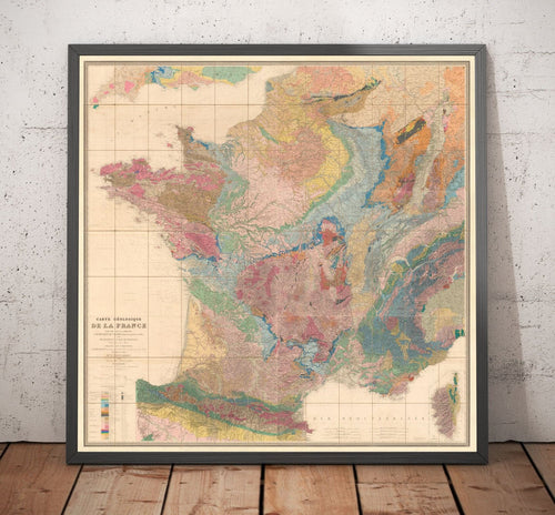 Large Old Geological Map of France, 1840 by André Brochant de Villiers - Vintage Map, Antique Map, Geology Map - Framed or Unframed