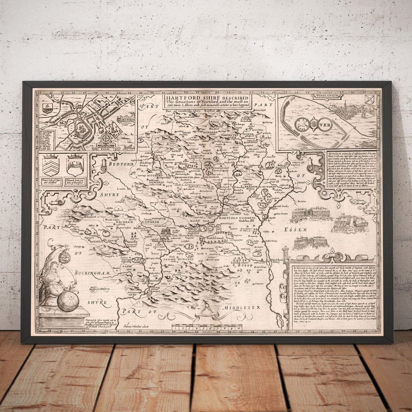 Old Map of Hertfordshire, 1611, John Speed - Stevenage, St Albans, Watford, Hemel Hempstead - Monochrome Vintage, Antique Wall Art - Framed or Unframed