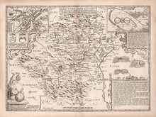 Load image into Gallery viewer, Old Map of Hertfordshire, 1611, John Speed - Stevenage, St Albans, Watford, Hemel Hempstead - Monochrome Vintage, Antique Wall Art - Framed or Unframed