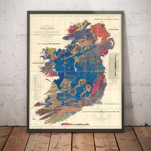 Large Old Geological Map of Ireland, 1837 by Richard John Griffith for the Railway Commissioners - Vintage Map, Antique - Framed or Unframed