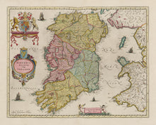Load image into Gallery viewer, Old Map of Ireland, Hibernia in 1654 by Joan Blaeu from the Theatrum Orbis Terrarum Sive Atlas Novus - British Isles - Framed or Unframed