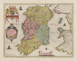 Old Map of Ireland, Hibernia in 1654 by Joan Blaeu from the Theatrum Orbis Terrarum Sive Atlas Novus - British Isles - Framed or Unframed