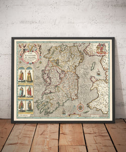 Old Map of Ireland, Éireann 1611 by John Speed - Beautiful Antique Vintage Map - British Isles Christmas & Birthday Gift - Framed, Unframed