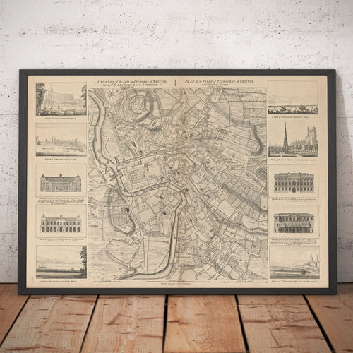 Map of Bristol in 1750 by John Rocque - Framed or Unframed