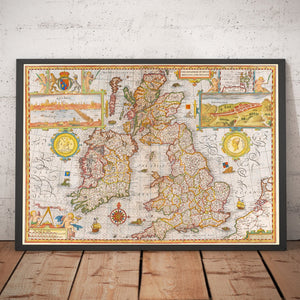 Large Old Map of UK - British Isles, England, Scotland, Wales, Ireland - up to 4m/13ft  - 1611, 1854 - Vintage Wall Art - Framed or Unframed