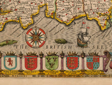 Load image into Gallery viewer, Old Map of Cornwall in 1611 by John Speed - Vintage Map, Antique Map, Ancient Map - Framed or Unframed - Large Maps Available