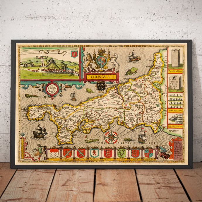 Old Map of Cornwall in 1611 by John Speed - Vintage Map, Antique Map, Ancient Map - Framed or Unframed - Large Maps Available