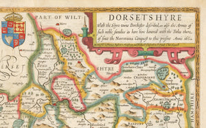 Old Map of Dorset in 1611 by John Speed - Vintage Map, Antique Map, Ancient Map of Dorsetshire - Framed or Unframed - Large Maps Available