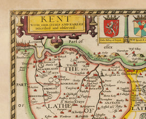 Old Map of Kent in 1611 by John Speed - Vintage Map, Antique Wall Art - Framed or Unframed - Large Maps Available