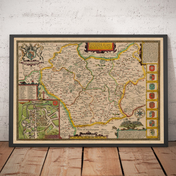 Old Map of Leicestershire in 1611 by John Speed - Leicester, Loughborough, Hinckley, Wigston - Personalised Vintage Christmas Gift - Framed, Unframed