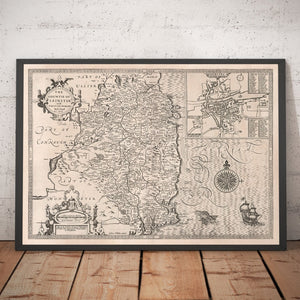 Old Map of Leinster, Ireland in 1611 by John Speed - County Dublin, Kilkenny, Meath, Drogheda  - Christmas Gift - Vintage Map - Framed Unframed