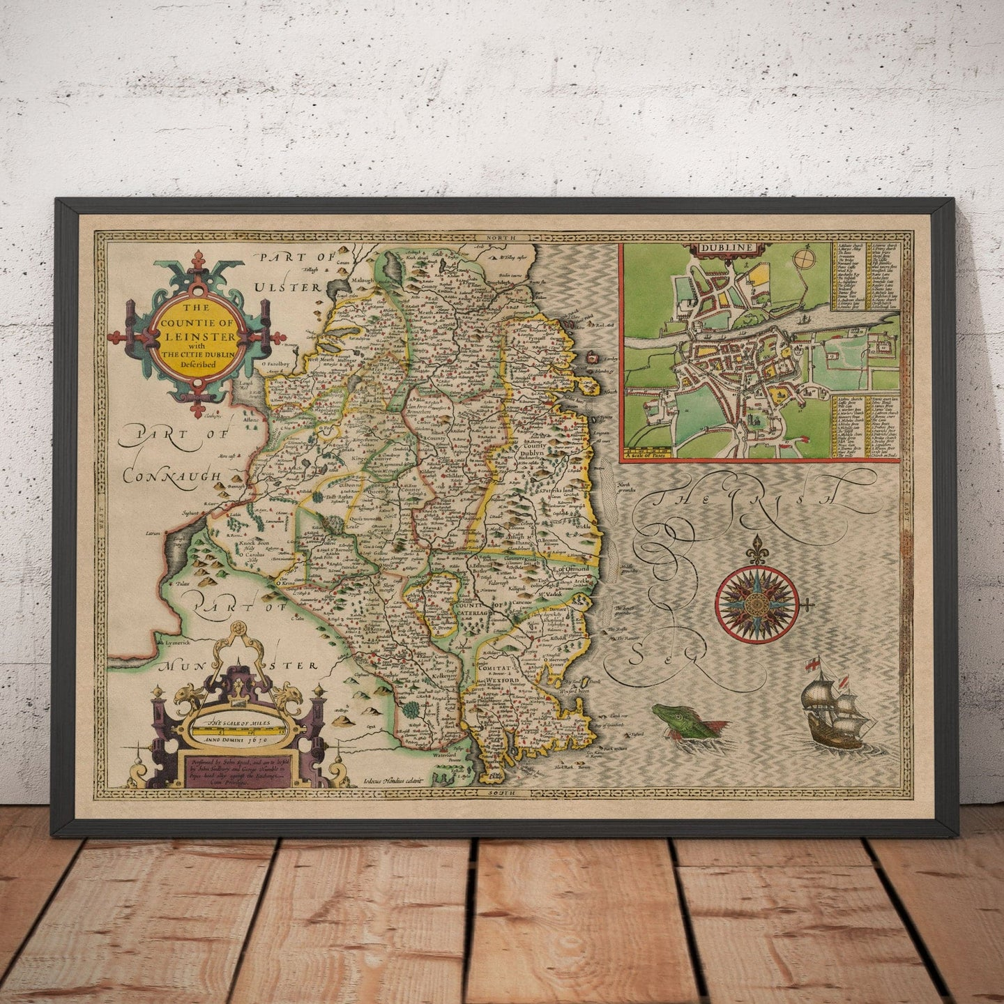 Old Map of Leinster, Ireland in 1611 by John Speed - County Dublin, Kilkenny, Meath - Christmas Gift - Colour Vintage Map - Framed Unframed