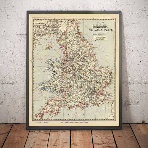Letts's railway & statistical map of England & Wales, 1883