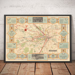 Old Map of the London Underground in 1922 - Vintage Map, Antique Map - Framed or Unframed - Large Sizes Available