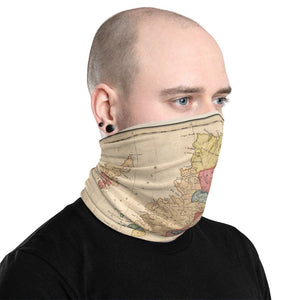 Scotland Clan Face Mask / Neck Gaiter / Snood with vintage map of the Highlands of Scotland by WH Lizars, 1822