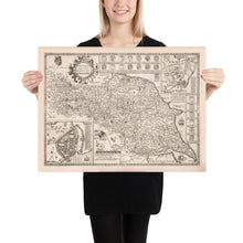 Load image into Gallery viewer, Old Map North and East Yorkshire, 1611 by John Speed - Hull, York, Middlesbrough, Harrogate - Personalised B/W Christmas Gift - Framed, Unframed