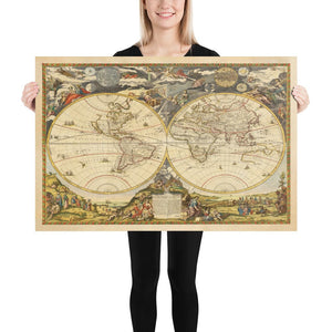 Old World Atlas Map, 1700 by Paolo Petrini - Very Rare Antique Map, Vintage Wall Art - Framed or Unframed
