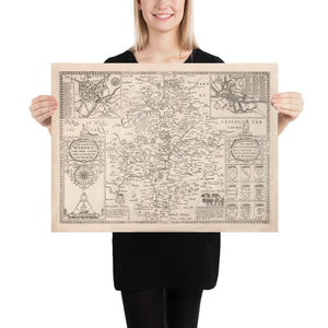 Old Map of Warwickshire in 1611 by John Speed - Birmingham, Coventry, Solihull, Warwick - Personalised B/W Christmas Gift - Framed, Unframed