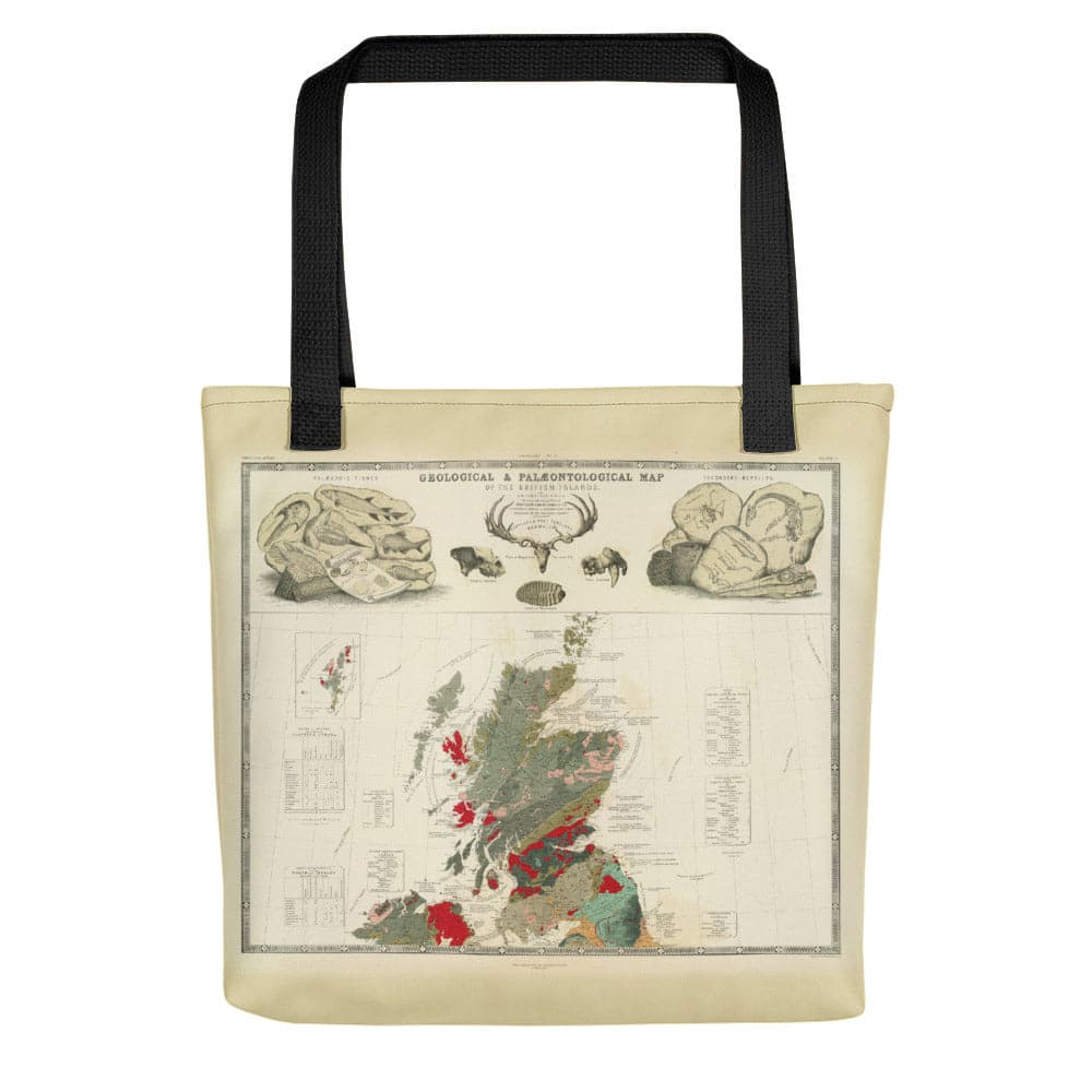 Scotland Tote Bag with vintage map print of Geological & palaeontological map of Scotland 1854, by A.K. Johnston and E.Forbes