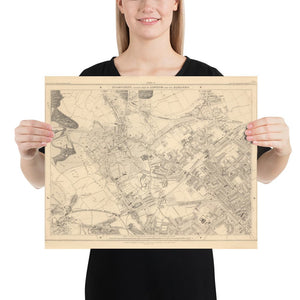 Old Map of North London in 1862 by Edward Stanford - Highgate, Hampstead Heath, Holloway, Crouch End - Vintage Map, Large Antique Wall Art - Framed or Unframed
