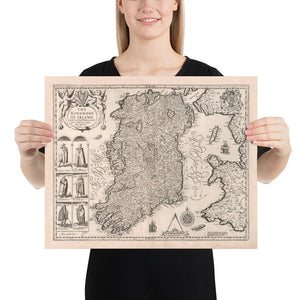Old Map of Ireland, Éireann 1611 by John Speed - Monochrome Antique Vintage Map - British Isles Christmas & Birthday Gift - Framed, Unframed