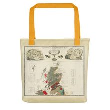 Load image into Gallery viewer, Scotland Tote Bag with vintage map print of Geological & palaeontological map of Scotland 1854, by A.K. Johnston and E.Forbes