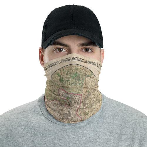 London Face Mask / Neck Gaiter with vintage map print of Mogg's 24 miles around London, 1820
