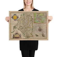 Load image into Gallery viewer, Old Map of Leinster, Ireland in 1611 by John Speed - County Dublin, Kilkenny, Meath - Christmas Gift - Colour Vintage Map - Framed Unframed