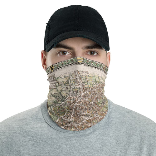 Birmingham Face Mask / Neck Gaiter with vintage map print of Birmingham in 1730