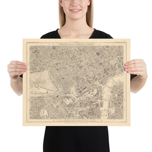 Old Map of Central London, 1862 - Mayfair, Oxford Street, Westminster, Knightsbridge, Waterloo - Vintage Antique Wall Art - Framed, Unframed