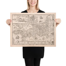 Load image into Gallery viewer, Old Map of Cornwall in 1611 by Speed - Penzance, St Ives, Plymouth, Lands End, Padstow - Personalised B/W Christmas Gift - Framed, Unframed