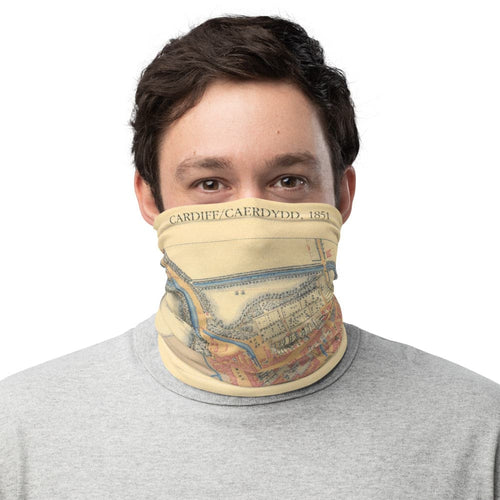 Cardiff Face Mask / Neck Gaiter / Snood with vintage Ordnance Survey map of Cardiff, 1851
