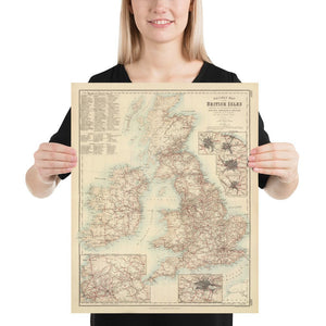 Old Map of Railways & Canals in British Isles 1872 by Fullarton - Colour Map of England, Ireland, Scotland, Wales - Framed or Unframed - Large Maps