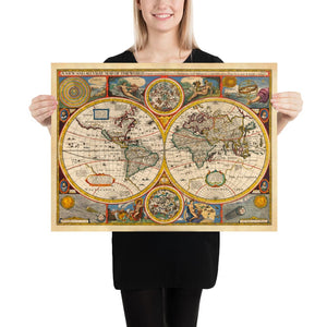 Old World Map from 1651 by John Speed - Rare Colour Vintage Map - Antique Wall Art - Framed or Unframed - Large Prints Available