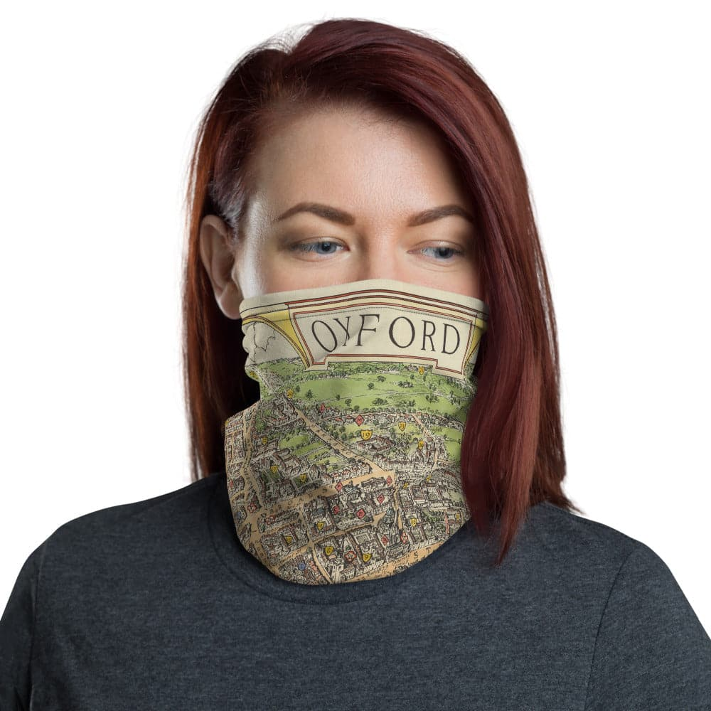 Oxford Face Mask / Neck Gaiter with vintage map print of Oxford in 1929 by Spencer Hoffman