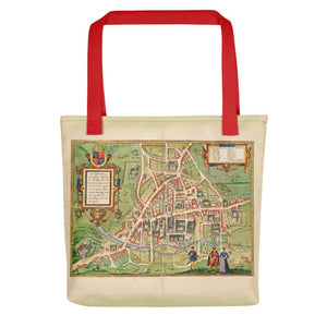 Cambridge Tote Bag with historic map of Cambridge (Cantebrigia) and its old colleges in 1575 by George Braun