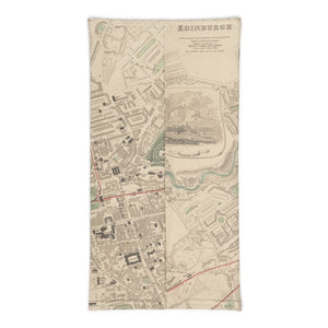 Edinburgh Face Mask / Neck Gaiter / Snood with vintage colour map of Edinburgh in 1853 by W.B. Clarke and published by George Cox
