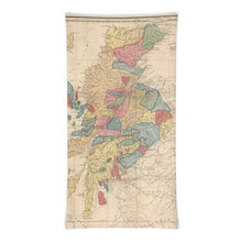 Load image into Gallery viewer, Scotland Clan Face Mask / Neck Gaiter / Snood with vintage map of the Highlands of Scotland by WH Lizars, 1822