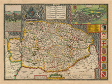Load image into Gallery viewer, Old Map of Norfolk, 1611 by John Speed - Norwich, Great Yarmouth, King's Lynn, Thetford - Vintage Map, Antique Wall Art - Framed or Unframed