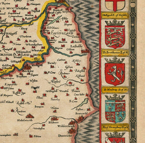 Old Map of Norfolk, 1611 by John Speed - Norwich, Great Yarmouth, King's Lynn, Thetford - Vintage Map, Antique Wall Art - Framed or Unframed
