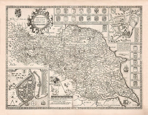 Old Map North and East Yorkshire, 1611 by John Speed - Hull, York, Middlesbrough, Harrogate - Personalised B/W Christmas Gift - Framed, Unframed